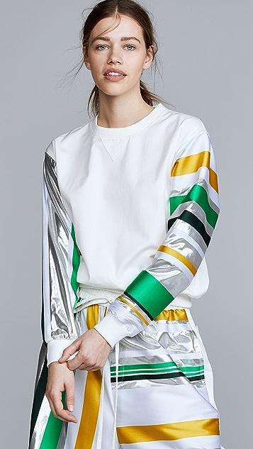 Prabal Gurung Denim Sweatshirt with Metallic Sleeves