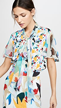 Tie Neck Flutter Sleeve Top