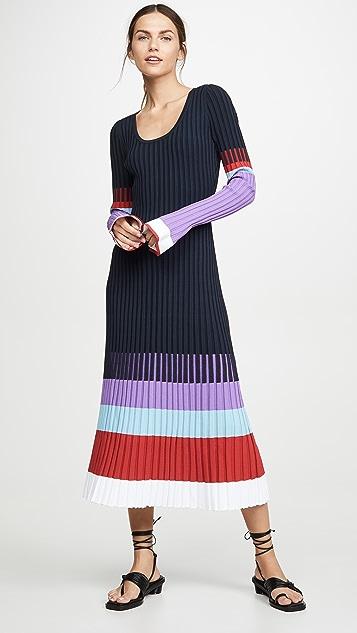 Prabal Gurung 撞色汤匙领连衣裙