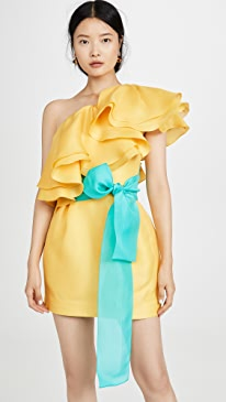 Carsix One Shoulder Ruffle Dress