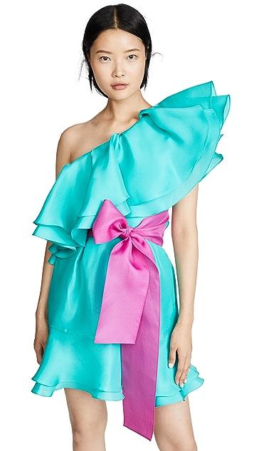 Prabal Gurung Giverny 单肩荷叶边裙身连衣裙