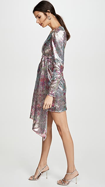 Prabal Gurung V Neck Long Sleeve Dress with Puff Sleeves