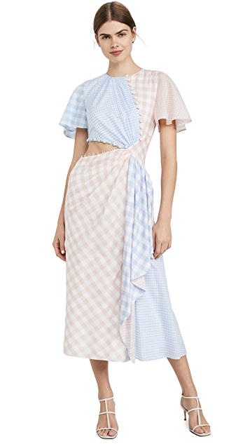 Prabal Gurung Gingham w/ CascAde and Cutout Detail