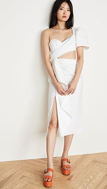 Prabal Gurung Asymmetrical One Shoulder Wrap Dress