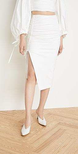 Prabal Gurung - Poplin Side Ruched Skirt