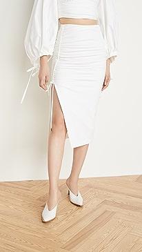 Poplin Side Ruched Skirt