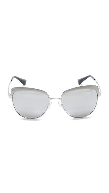 Prada Brow Cat Eye Mirrored Sunglasses