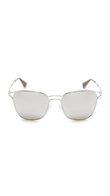 Prada Metal Double Bridge Mirrored Sunglasses