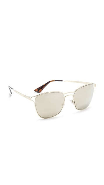 Prada Double Bridge Mirrored Sunglasses