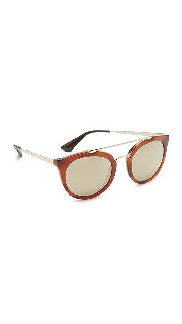 Prada Round Aviator Mirrored Sunglasses