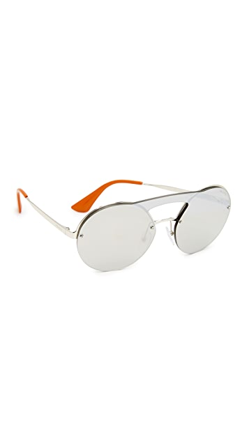 565c092a053 Prada Cinema Round Brow Bar Sunglasses ...