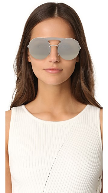 Prada Cinema Round Brow Bar Sunglasses