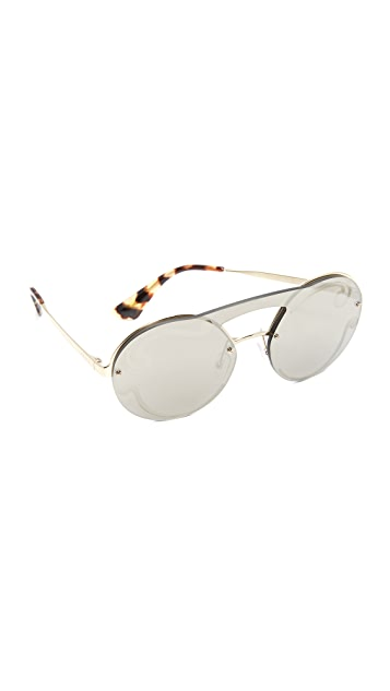 81cbd48d2b Prada Cinema Round Brow Bar Sunglasses ...