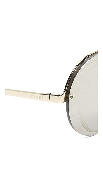 Prada Круглые солнцезащитные очки Cinema с пластинкой