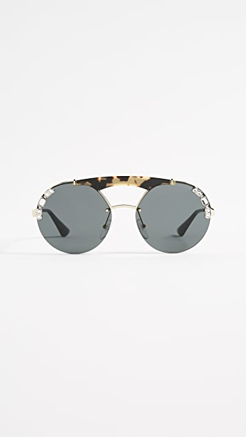 Prada Ornate Crystal Round Sunglasses - Pale Gold Havana/Grey