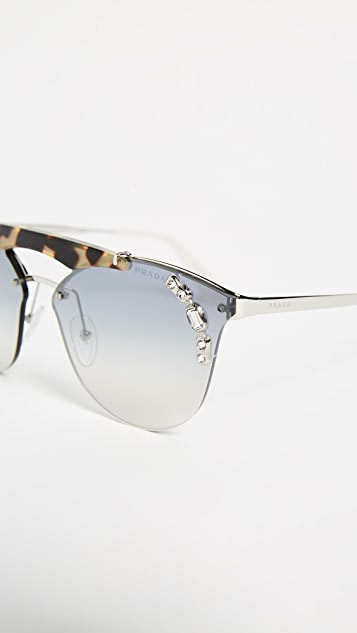 Prada Crystal Ornate Aviator Sunglasses