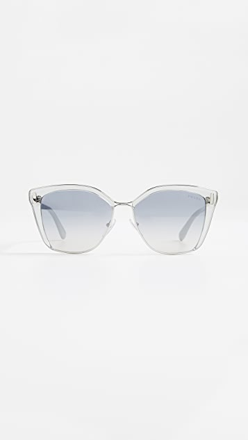Prada Square Glasses - Grey Silver/Blue Silver
