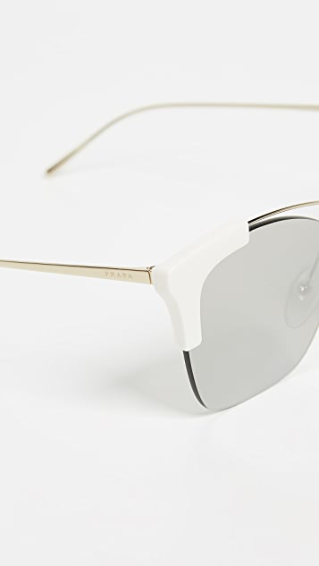 Prada PR21US Sleek White Gold Square Sunglasses