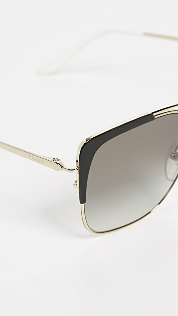 Prada PR 54VS Square Aviators Sunglasses