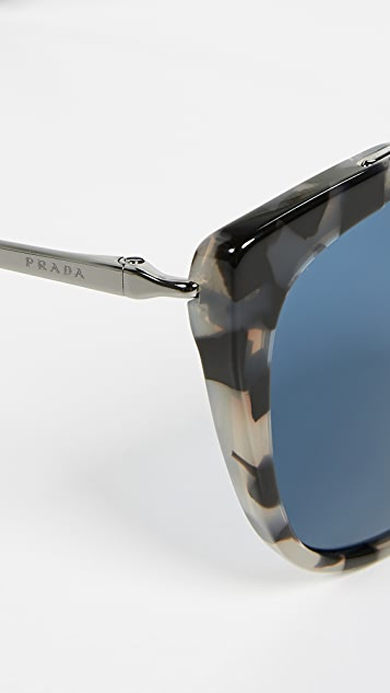 Prada PR 20US Oversized Cat Eye Tortoise Sunglasses