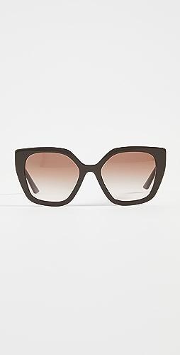 Prada - 现代黑白色徽标猫眼太阳镜