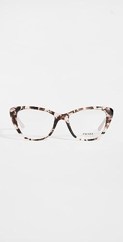 Prada - 52 Mondern 单色徽标猫眼眼镜