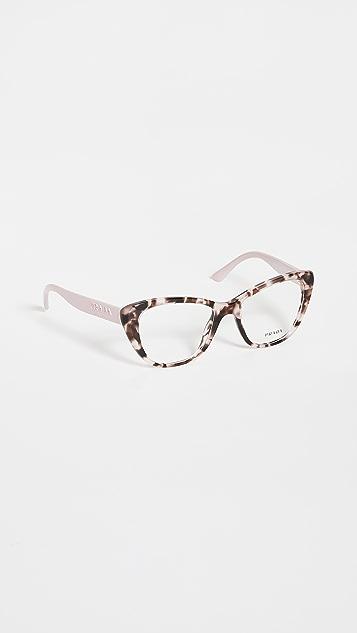 Prada 52 Mondern Monochrome Logo Cat Eye Glasses