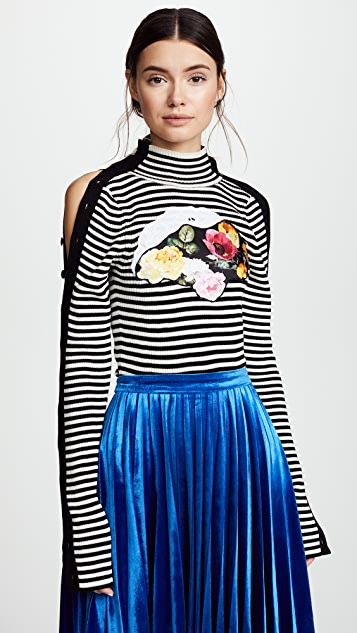 Preen By Thornton Bregazzi Tansy Striped Knit with Applique - Black/White