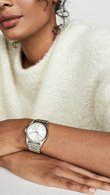二手劳力士 Gents Rolex Silver Stick 表盘、凹口表圈和周年纪念表带