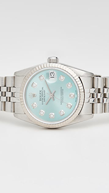 Pre-Owned Rolex Mid Size Rolex Ice Blue Diamond Dial, Fluted Bezel, Jubilee Band