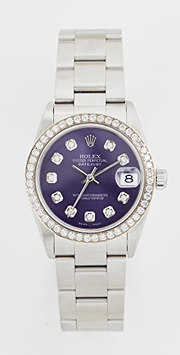 Pre-Owned Rolex - Mid Size Rolex Purple Diamond Dial, Diamond Bezel, Oyster Band