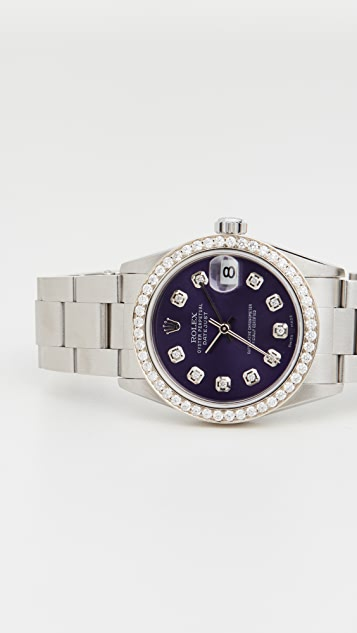 Pre-Owned Rolex Mid Size Rolex Purple Diamond Dial, Diamond Bezel, Oyster Band