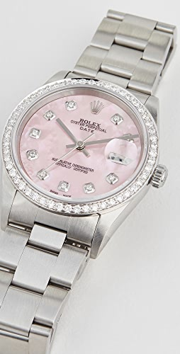Pre-Owned Rolex - 34mm Rolex Date Model Pink Mop 钻石表盘、钻石表圈和蚝灰表带