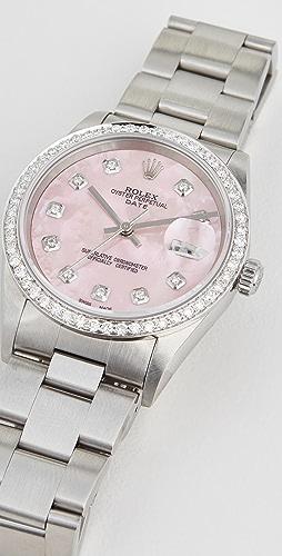 Pre-Owned Rolex - 34mm Rolex Date Model Pink Mop Diamond Dial, Diamond Bezel, Oyster Band