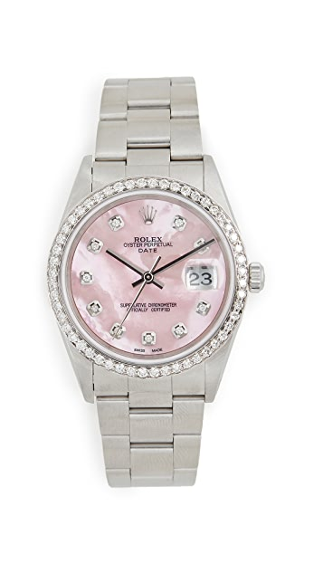 Pre-Owned Rolex 34mm Rolex Date Model Pink Mop Diamond Dial, Diamond Bezel, Oyster Band
