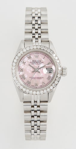 Pre-Owned Rolex - Ladies Rolex Datejust Pink Mop 罗马数字、镶钻表圈和周年纪念表带