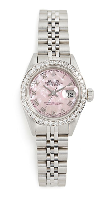 Pre-Owned Rolex Ladies Rolex Datejust Pink Mop Roman, Diamond Bezel, Jubilee Band