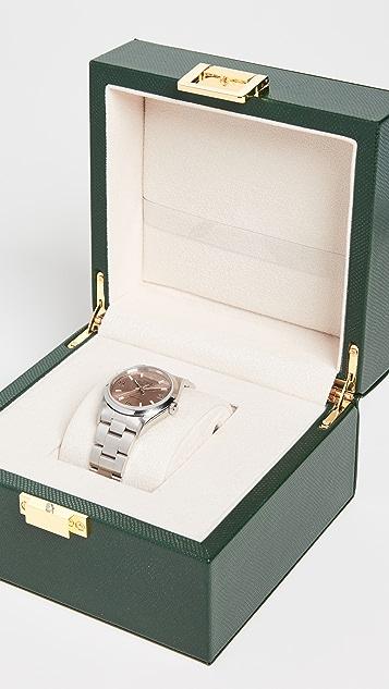 Бывшие в употреблении часы Rolex Мужские часы Rolex Air King с циферблатом лососевого цвета, гладким ободком и ремешком устричного цвета