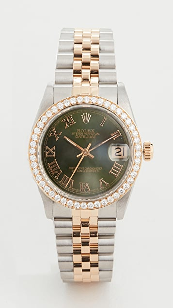 Pre-Owned Rolex Mid Size 31mm TT Rolex Date Just Olive Watch