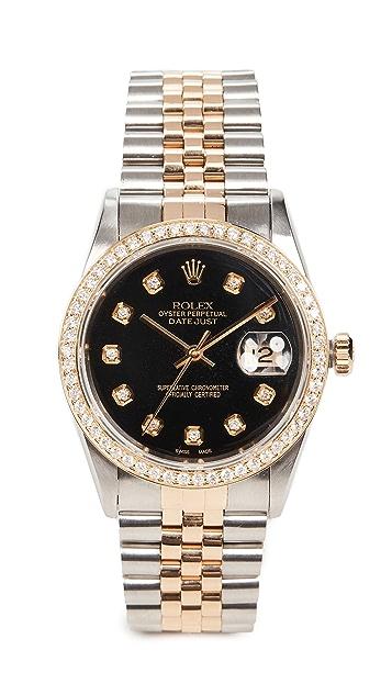 二手 Rolex Rolex Datejust 36 毫米男士钛黑色钻石腕表