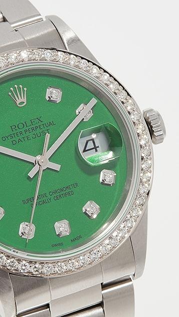 Pre-Owned Rolex Rolex Datejust Model Green Diamond Watch 36mm