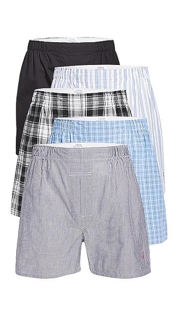 Polo Ralph Lauren Underwear Classic Fit Woven Boxers 5 Pack