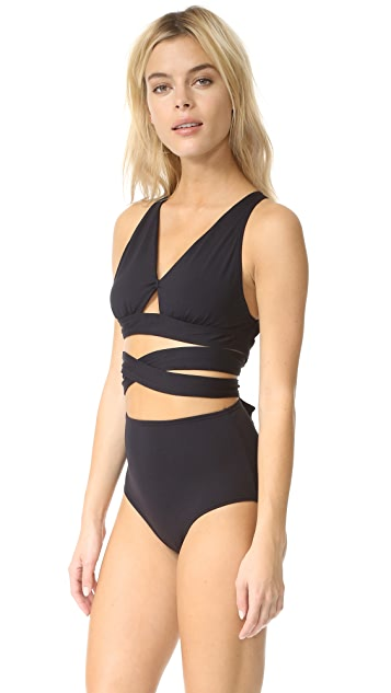 Proenza Schouler Wrap Swimsuit with High Waist