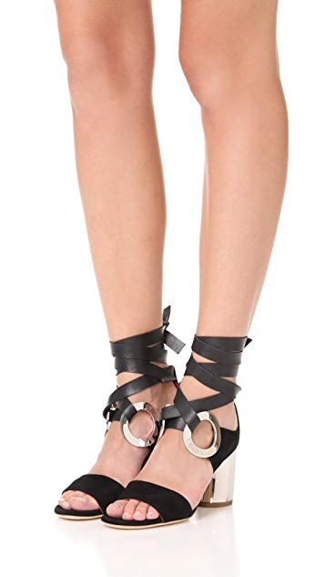 Proenza Schouler Block Heel Lace Up Sandals