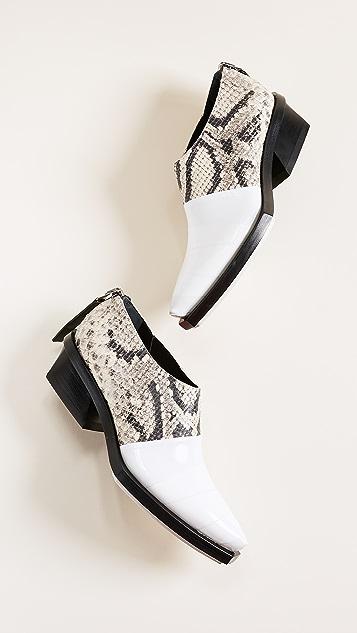Proenza Schouler Snake Print White Toe Booties