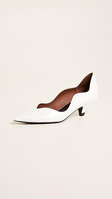 Proenza Schouler Туфли-лодочки на каблуке «рюмочка» с волнистой отделкой