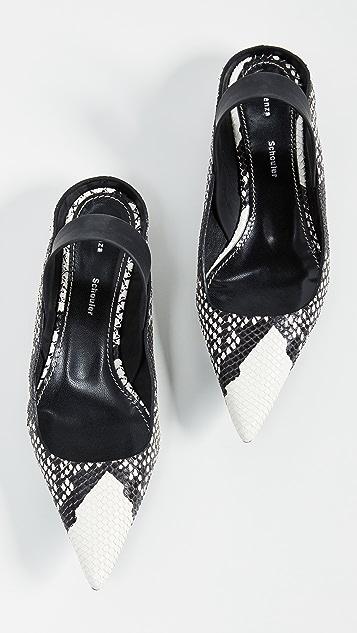 Proenza Schouler 蛇纹印花露跟鞋