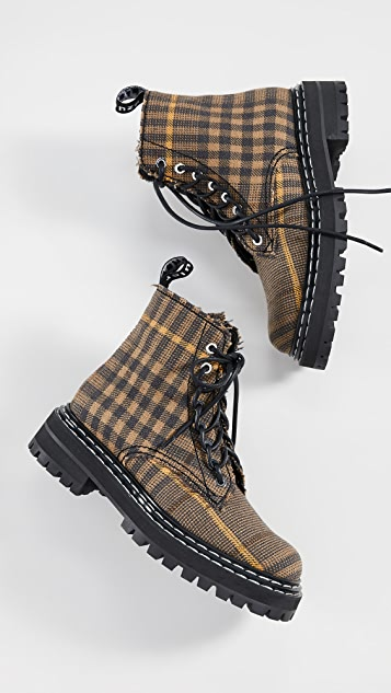 Proenza Schouler Plaid Lace Up Boots