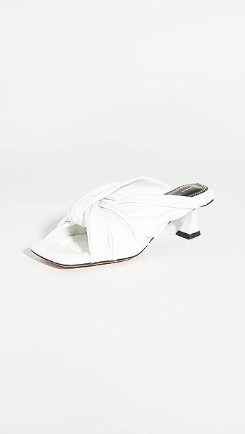 Proenza Schouler Knot Square Toe Slide Sandals