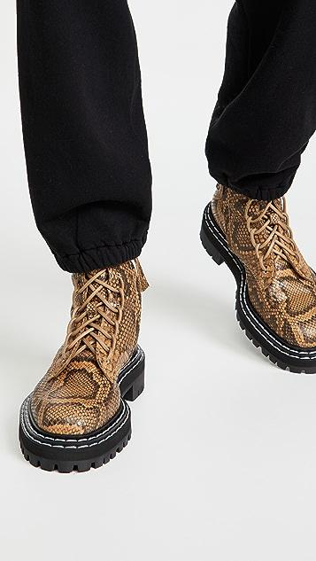 Proenza Schouler 压花蟒蛇纹沟纹鞋底军旅靴